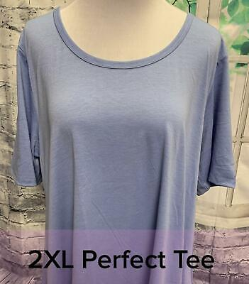 NWT Lularoe Size 2XL Solid Light Slate Blue Women's Perfect T Shirt Top