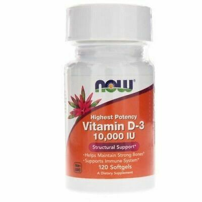 Now Foods, Vitamin D-3 High Potency, 10,000 IU, 120 Softgels Now D3 10000 IU