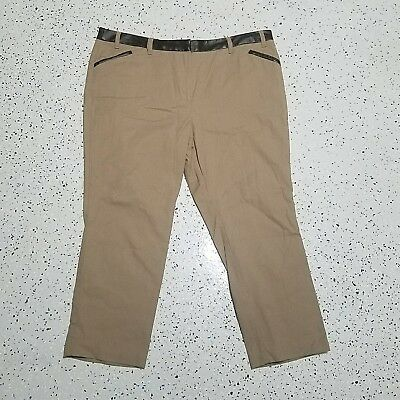 Worthington Women's Cropped Dress Pants ~ Sz 12 ~ Light Brown ~Faux Leather Trim