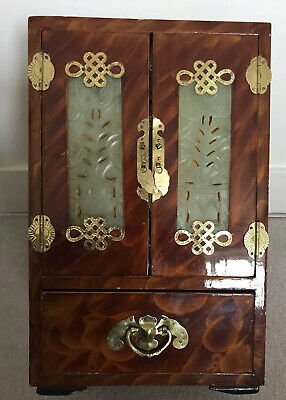 Superb Vintage Lacquered Chinese Jade Silk Brass Wood Jewellery Box Trunk Chest