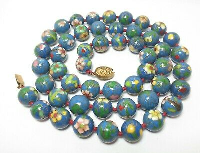 Vtg Chinese Cloisonne Enamel Bead Necklace Blue Flower Floral Knotted Red Strand