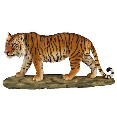 "Yellow Bengal Tiger Figurine Statue 11"" Long Detailed Resin New In Box!"