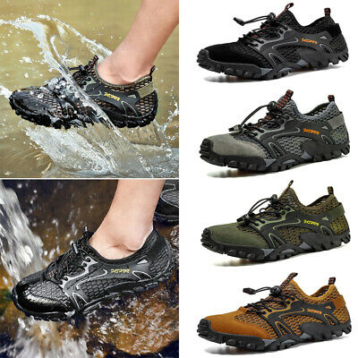 Men Hole Athletic Casual Water Shoes Hiking Sneakers Breathable Nonslip Trainers