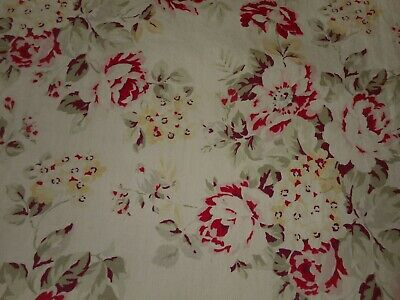 Vintage English Cottage Roses Cotton Fabric ~ Rose Eggplant Sage Yellow Gray