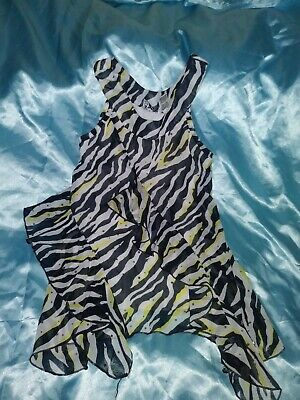 girls shirt size 10-12 zebra stripe sleeveless black white yellow