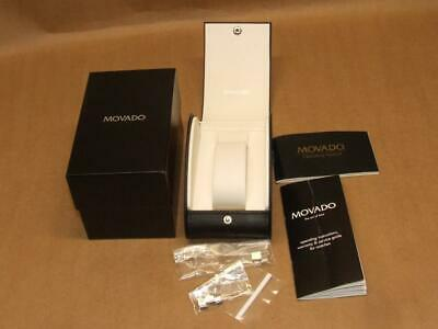 Black White MOVADO Watch Box ONLY Extra Links Paperwork Good Condition NO WATCH