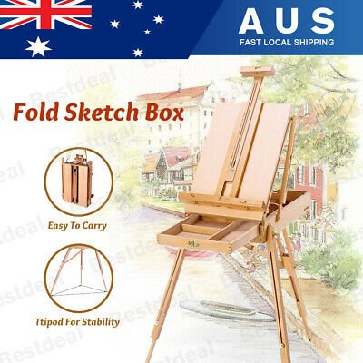 Portable Wooden Easel Sketch Box Artist Display Painting Tripod Stand Foldable