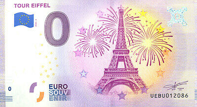 75007 Tour Eiffel 6, Feu d'artifice, 2020, Billet Euro Souvenir