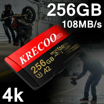 KRECOO 256GB Micro Memory Card 108MB/S 4K HC Fast Flash TF Card with Adapter