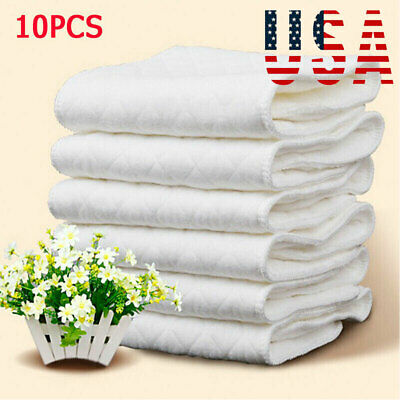 US 10pcs Reusable Washable Inserts Boosters Liners For Real Pocket Cloth Nappy