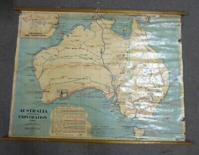 Antique Explorers Map Australia Routes Pictorial Chas Scally School Wall Chart