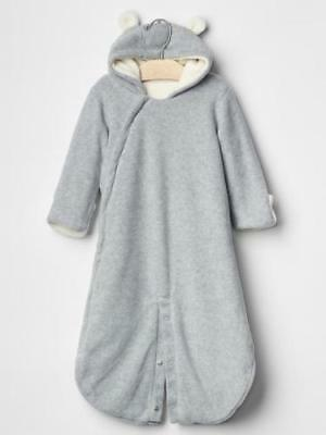 NWT Gap Sherpa Bear Bunny one-piece Gray Cream SOLD OUT ITEM Warm Zipper