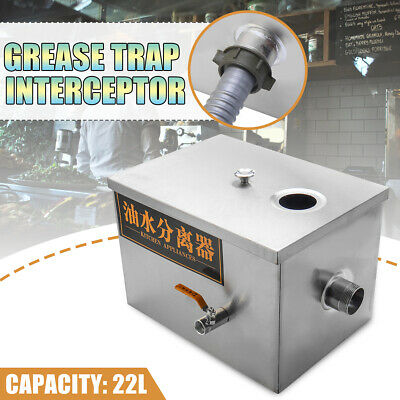 22L Grease Trap Interceptor Stainless Steel for Restaurant Kitchen Wastewater