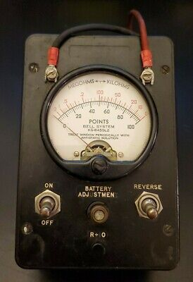 Vintage Bell System Uib Ohm Test Meter Tester KS-8455 L2 Untested w/Leads