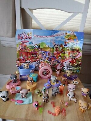 Littlest Pet Shop Lot LPS of 23 Mixed Animals + Accessories