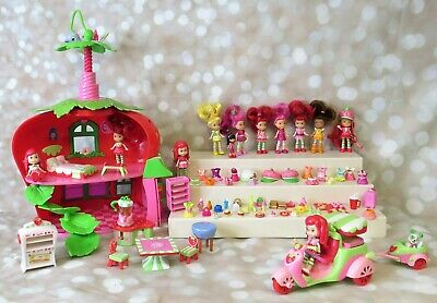 Strawberry Shortcake Berry Cafe Dollhouse Dolls Accessories Scooter Lot