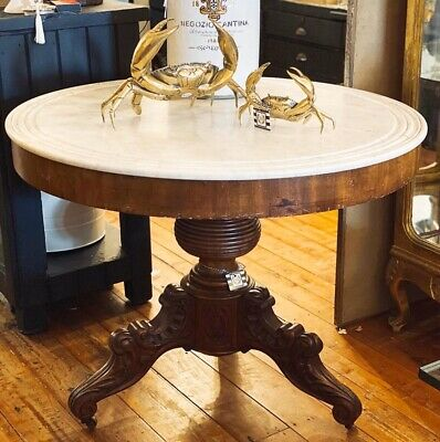 Antique Marble Top Pedestal Base Dining Entry Centre Entrance Table Magnificent!