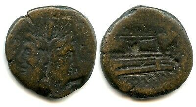 Rr063. Roman Republic Bronze As Anonymous Ae Head Of Janus After 155 Bc. Genuine