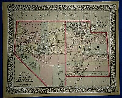 Vintage 1873 UTAH TERRITORY - NEVADA MAP Old Antique Original & Authentic