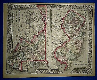 Vintage 1873 NEW JERSEY MARYLAND DELAWARE MAP Old Antique Original & Authentic