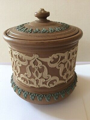 LARGE ANTIQUE DOULTON LAMBETH SILICON TOBACCO JAR Chip To Lid