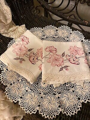 SET Antique French pure Cotton Linens pillowcases Embroidered Exquisite Standard