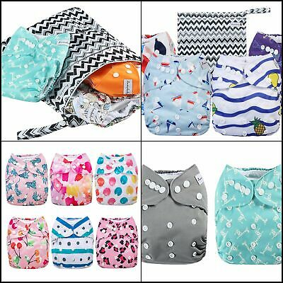 Reusable Baby Cloth Pocket Diapers 4/6 Pack 4/6 Inserts+ Wet Bag Adjustable Size