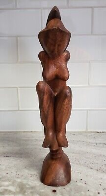 "Vintage Hand Carved Wood Sculpture 12"" tall Nude Women Sitting On Crescent Moon"