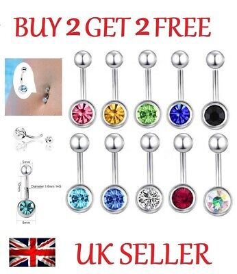 Single Crystal Gem Belly Bar Navel Bar Button Ring Surgical Steel Belly Bars