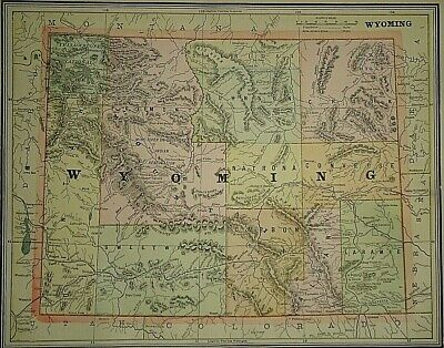 Vintage Circa 1892 WYOMING MAP Old Antique Original Atlas Map