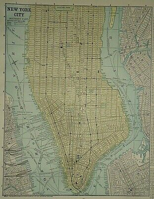 Vintage Circa 1892 NEW YORK CITY MAP Old Antique Original Atlas Map
