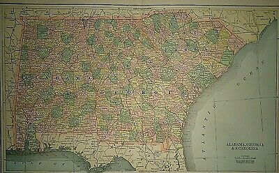 Vintage Circa 1892 ALABAMA - GEORGIA - SOUTH CAROLINA MAP Old Antique Original