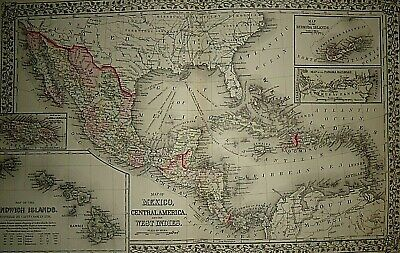 Vintage 1873 MEXICO - CENTRAL AMERICA - CARIBBEAN MAP Old Antique & Original