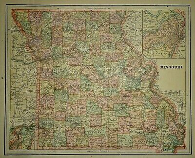Vintage Circa 1892 ARKANSAS MAP Old Antique Original Atlas Map