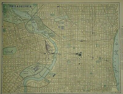 Vintage Circa 1892 PHILADELPHIA, PENNSYLVANIA MAP Old Antique Original Atlas Map