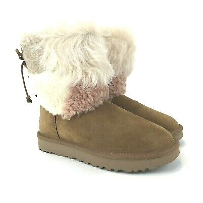 UGG Classic Mini Fluff High Low Boot Black Size 7