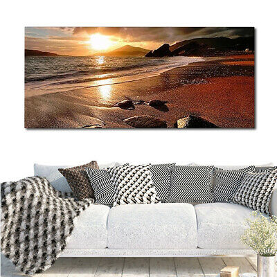 UK Sunset Beach Landscape Canvas Wall Art Picture Print Decor Frameless 120x50cm