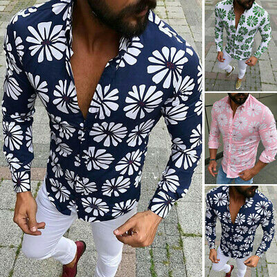 Men Summer Floral Printed Tops Slim Fit Tights  Button Down Long Sleeve Shirts