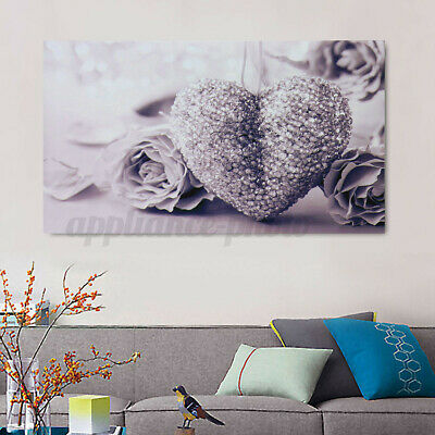 Hanging Living Room Pictures Home Bedroom Wall Painting Canvas Heart Rose Print