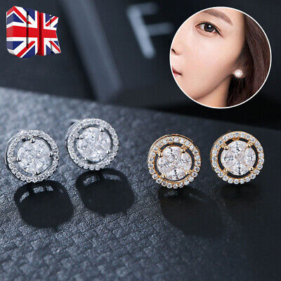 Fashion Elegant Gold Silver Rose Circle Crystal Stud Charm Earrings Jewelry Y