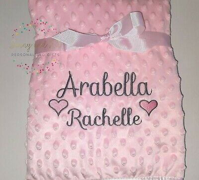 Personalised Baby Girl Hearts Blanket, Pink Grey White, Custom Embroidered Gift