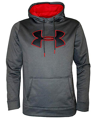 Under Armour Men's Carbon Heather Gray UA Storm Big Logo Graphic Pullover Hoodie