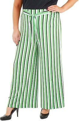 NY Collection Womens Pants Green Size 2X Plus Wide-Leg Striped Tie-Waist $54 273