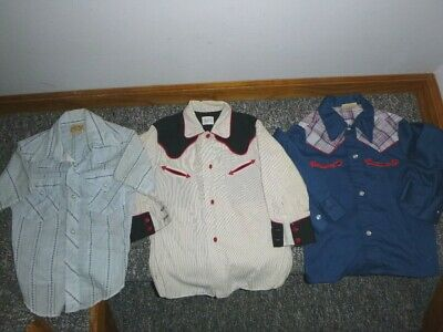 Lot of 3 Boy's Vtg 50's-60's Western Shirts Sz 4/5 Penneys~Tex Son~Sand's Point
