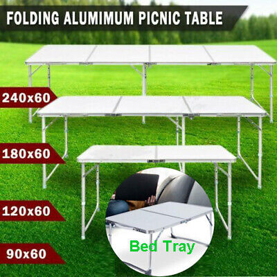 Bed Tray Table Camping 4ft Folding Table and 4 Chairs Adjustable 6ft Heavy Duty