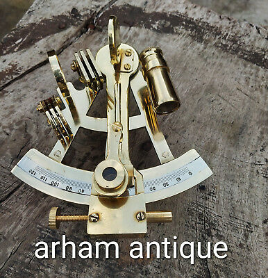Nautical Solid Brass Working Sextant Marine Navigation Astrolabe Ship Instrument