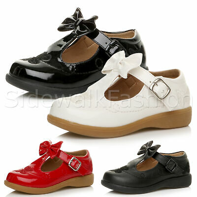 Girls kids childrens buckle bow t-bar strap butterfly smart party shoes size