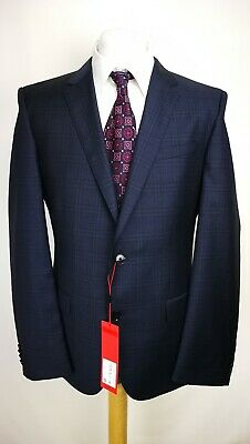 Hugo Boss Mens Henry182 Suit Jacket, Size 42R, Navy Check Design, Slim Fit, BNWT