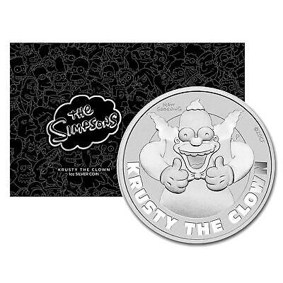 2020 Tuvalu $1 Simpsons Krusty the Clown 1 oz .999 Silver Coin - NEW IN CARD
