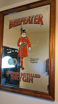 """Beefeater London Dry Gin Bar Mirror HUGE Advertising Mancave Pub  35"""" x 26"""""""